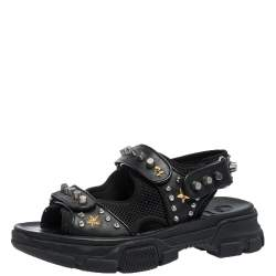 Gucci Black Leather And Mesh Aguru Studded Platform Sandals Size 41