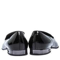 Gucci Black Patent Leather Smoking Slippers Size 42