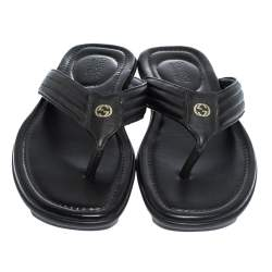 Gucci Black Leather GG Logo Thong Flat Sandals Size 42.5