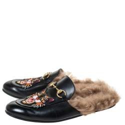 Gucci Black Tiger Embroidered Leather and Fur Lined Princetown Mules Size 40