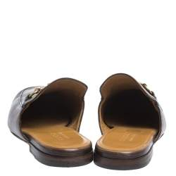 Gucci Dark Brown Leather Princetown Horsebit Mules Size 42