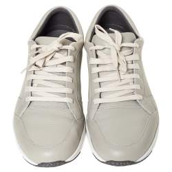 Gucci Grey Leather Low Top Lace Up Sneakers Size 41