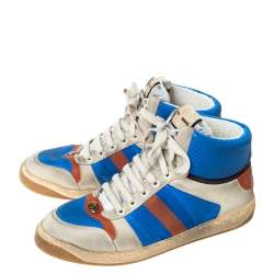 Gucci Multicolor Leather And Web Trim Screener High Top Sneakers Size 44.5
