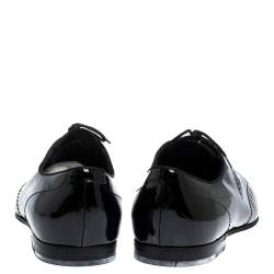 Gucci Black Patent Leather Lace Up Oxfords Size 44