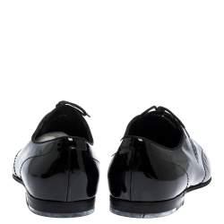 حذاء أوكسفورد غوتشى أربطة جلد لامع أسود مقاس 44