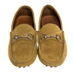 Gucci Yellow Suede Leather Horsebit Slip On Loafers Size 41.5