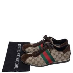 Gucci Beige/Brown GG Canvas and Suede Web Low Top Sneakers Size 41