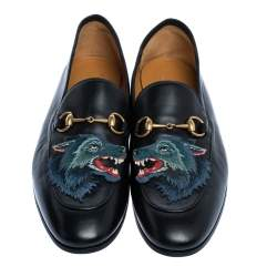 Gucci Black Leather Brixton Wolf Applique Horsebit Loafers Size 45