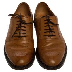 Gucci Tan Bee Brogue Detail Leather Lace Up Oxford Size 44