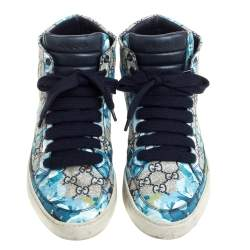 Gucci Beige and Blue Blooms Printed GG Canvas High Top Sneakers Size 40.5