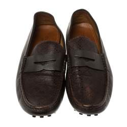 Gucci Dark Brown Leather Penny Loafer Drivers Size 45