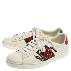Gucci White Leather Ace Embroidered Snake Low Top Sneakers Size 41.5