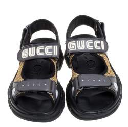 Gucci Grey Leather and Mesh Logo Sandals Size 41