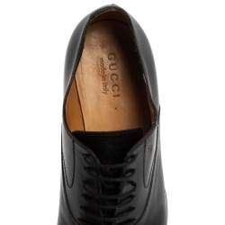 Gucci Black Leather Lace Up Oxfords Size 43.5