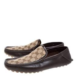 Gucci Brown Leather and GG Canvas Loafers Size 43.5