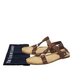 Gucci Brown Leather Espadrille Sandal Size 44