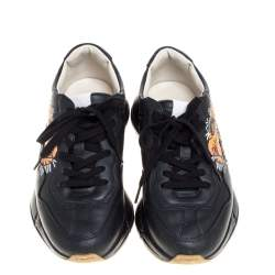 Gucci Black Leather Tiger Rhyton Low Top Sneakers Size 39