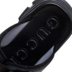 Gucci Black Leather Aguru Buckle Slide Sandals Size 42