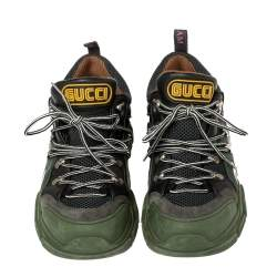 Gucci Green/Black Leather And Mesh Flashtrek Low Top Sneakers Size 42.5