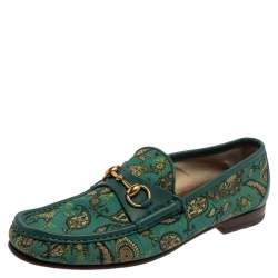 Gucci Green Canvas And Leather Paisley Horsebit Loafers Size 43