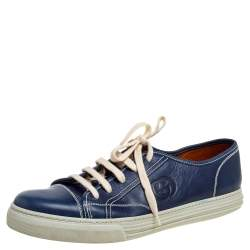 Gucci Navy Blue Leather Lace Up Low Top Sneakers Size 43