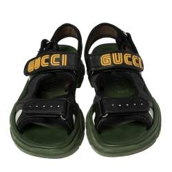 Gucci Black Leather And Mesh Sega Sandals Size 43
