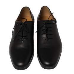 Gucci Dark Black Leather Lace Up Oxfords Size 41