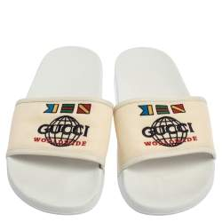 Gucci White Logo Print Canvas Slip On Slides Size 43