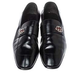 Gucci Black Glossy Leather GG Loafers Size 44