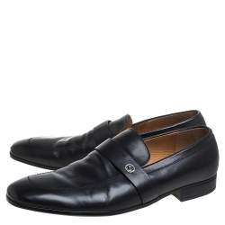 Gucci Black Leather Slip On Loafers Size 43.5