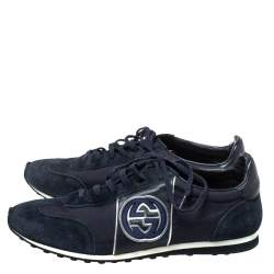 Gucci Navy Blue Suede and Fabric Interlocking G Lace Up Sneakers Size 42