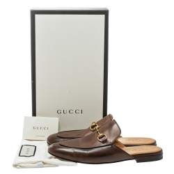 Gucci Brown Leather Princetown Horsebit Mules Size 42