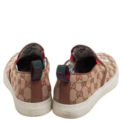 Gucci Beige/Brown GG Canvas MLB NY Yankees Slip On Sneakers Size 40