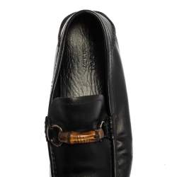 Gucci Black Leather Bamboo Horsebit Slip On Loafers Size 43.5