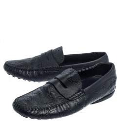 Gucci Navy Blue Guccissima Leather Penny Slip On Loafers Size 43.5