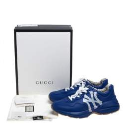Gucci Blue Leather Rhyton With NY Yankees™ Print Sneakers Size 44