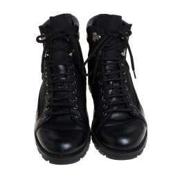 Gucci Black Leather and Nylon Combat Boots Size 43