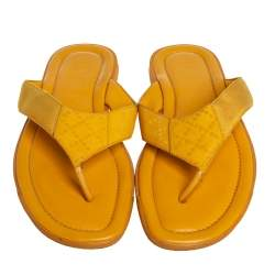 Gucci Yellow Diamante Leather And Fabric Thong Flats Size 43
