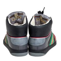 Gucci Multicolor Leather Screener High-Top Sneakers Size 45