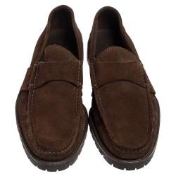 Gucci Brown Suede Slip On Loafers Size 44.5
