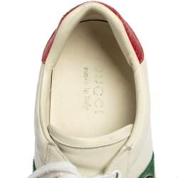 Gucci White Leather Ace Embroidered Tiger Low Top Sneakers Size 41.5