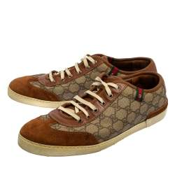 Gucci Brown Suede And GG Canvas Low Top Sneakers Size 45