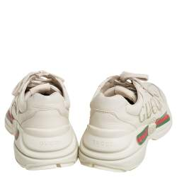 Gucci  Off White Leather Rhyton Gucci Logo Low Top Sneakers Size 41