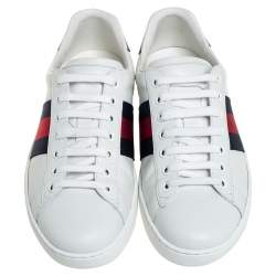 Gucci White Leather Ace Low Top Sneakers Size 40