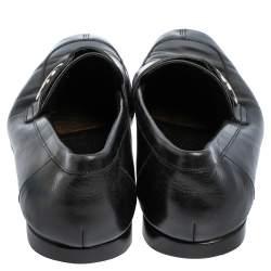 Gucci Black Leather Interlocking GG Loafers Size 41