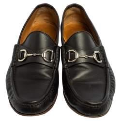 حذاء لوفرز غوتشي جلد أسود مزين هورسبيت سليب أون مقاس 43