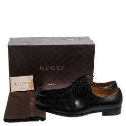 Gucci Black Leather Lace Up Derby Size 45