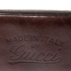 Gucci Dark Brown Leather Zip Around Wallet Organizer
