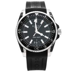 Gucci Black PVD Coated Stainless Steel Rubber Dive 136.2 Men's Wristwatch 45 mm