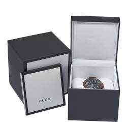 Gucci Black Two-Tone Stainless Steel Leather G-Chrono 101.2 Men's Wristwatch 44 mm